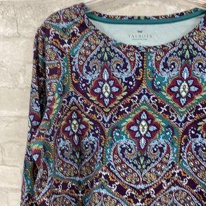 Talbots cotton knit floral shirt